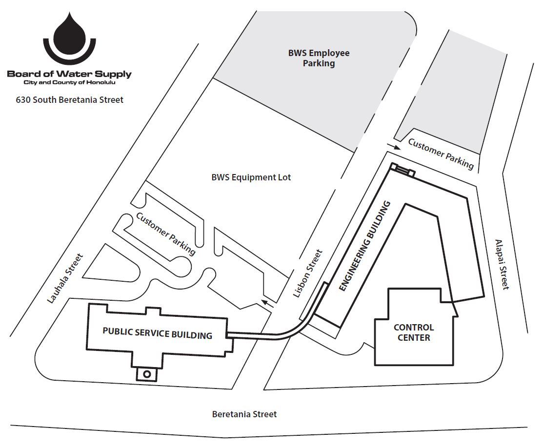 bws beretania parking entrances map