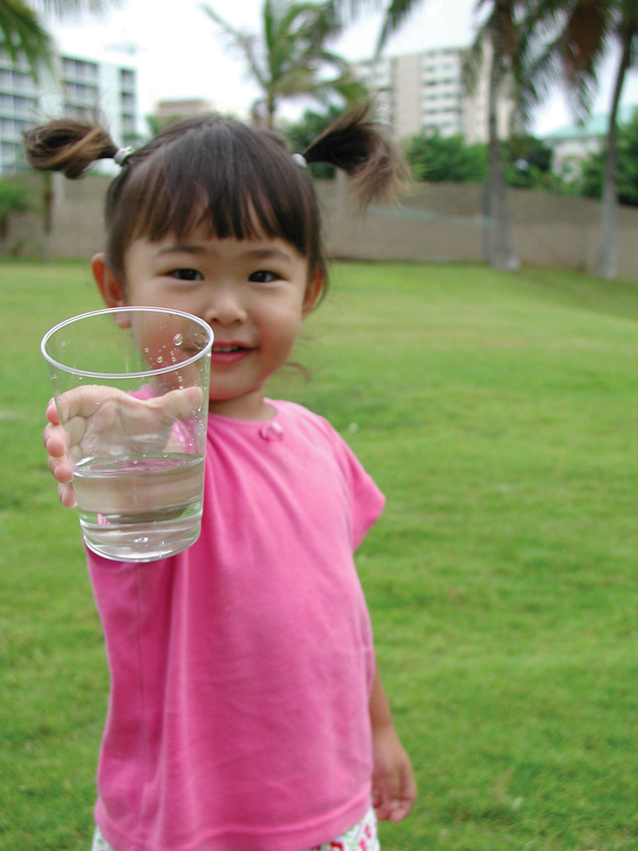 girl with cup of water