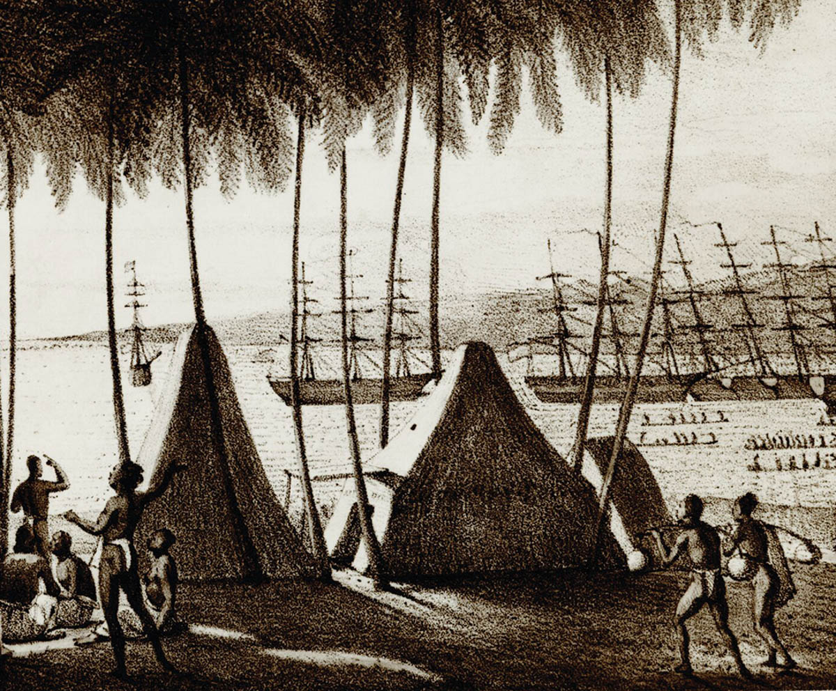 historical photo of harbor with ships 1822