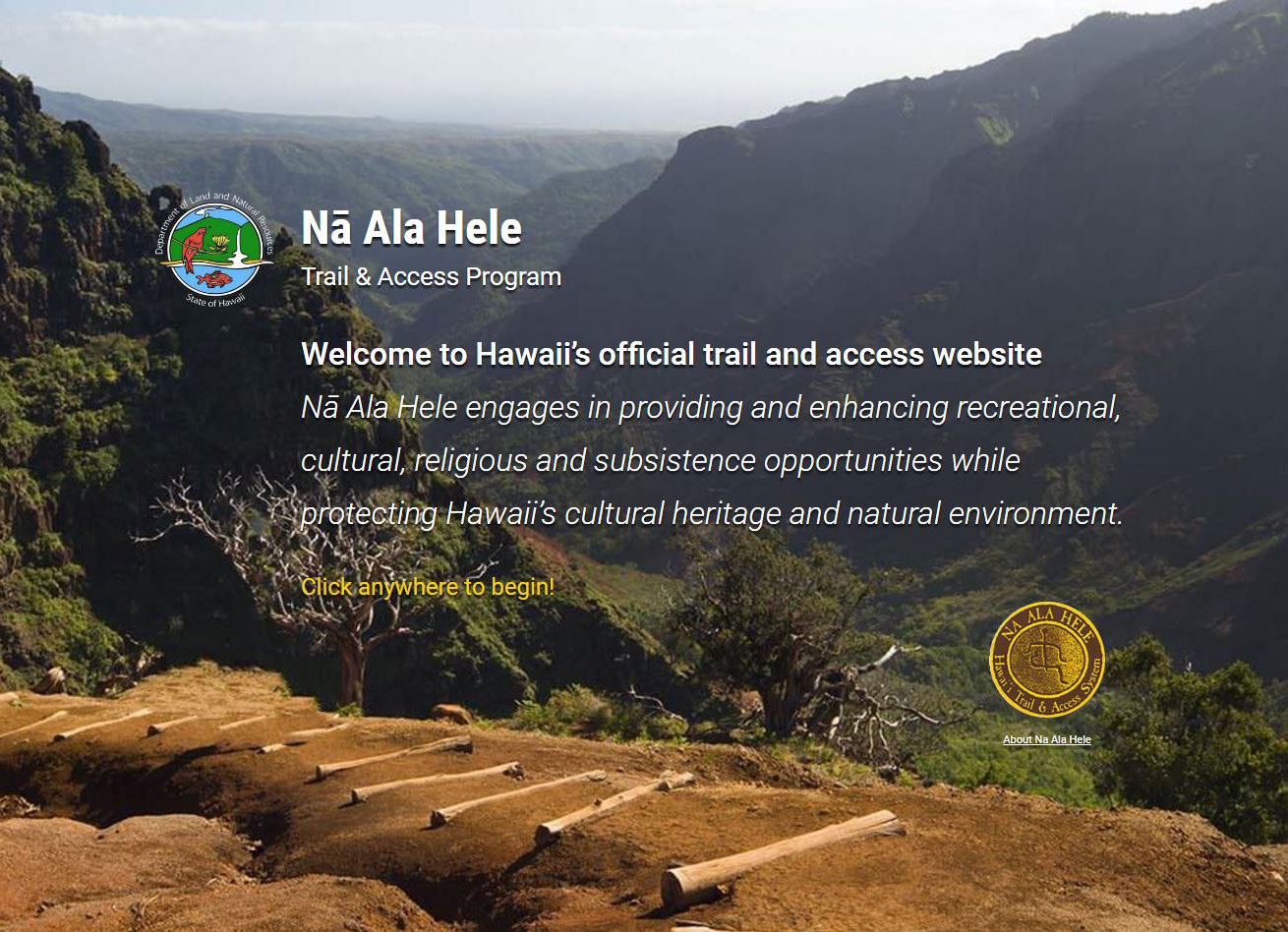 na ala hele trail access program website https://hawaiitrails.org/trails/#/