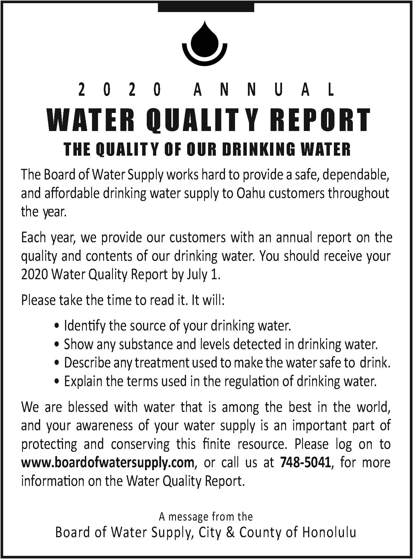 water quality report 2020 consumer confidence report